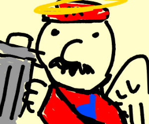 Mario Angel carring a trash can