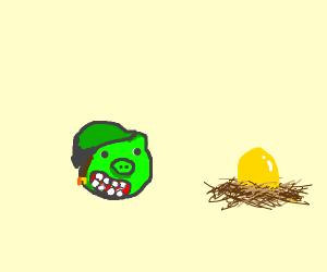 Green pig staring at egg