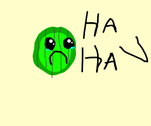Sad pickle slice being made fun of