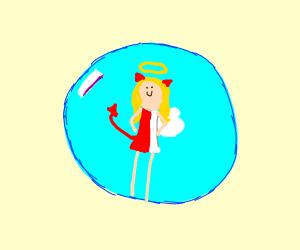 Angelic demon girl in a bubble