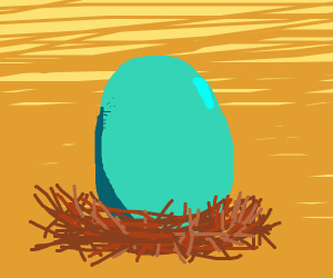 Blue egg in a nest