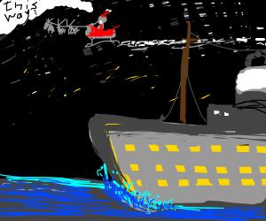 Santa guiding the Titanic