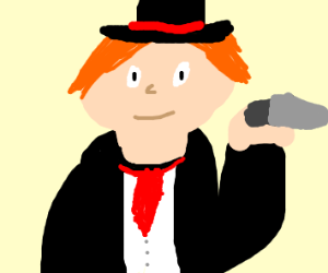 Man in top hat holds a dagger