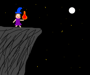 witch on a cliff with a fire at night
