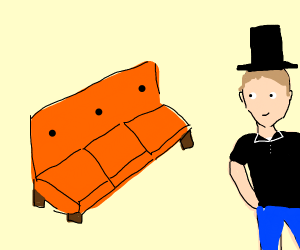 Dapper man looking at a an orange couch at 10