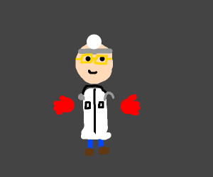 Doctor with red gloves and glasses