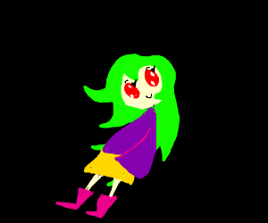 anime girl w red eyes past shoulder hair