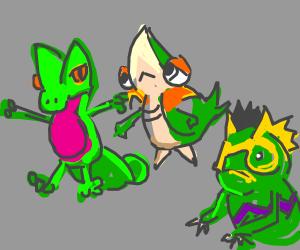 snivy, treecko and kecleon