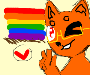 gay flag nest to fox that is not stupid