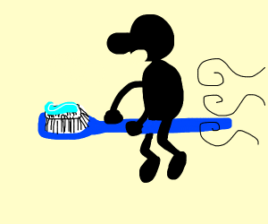 Mr Game and Watch loves riding a toothbrush