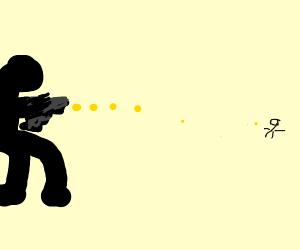 Shooter firing bullet at man far away