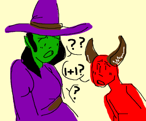 Witch can't solve a math problem for Lucifer
