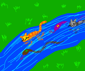 cats and snakes in a river