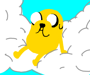 Jake (from Adventure Time) Sitting on a Cloud