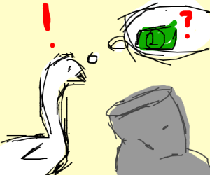 Swan looking for cash in a grey bag