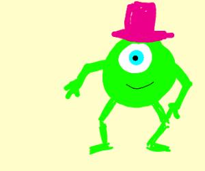 Mike Wazowski wearing pink hat