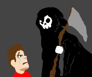 Grim reaper reaping crying man's soul