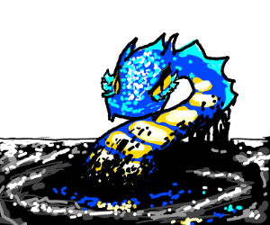 blue water dragon is mad in black tar
