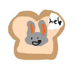 Live rabbit is stuck inside bread.