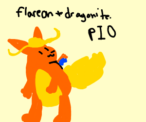 A Flareon and Dragonair pokemon fusion PIO
