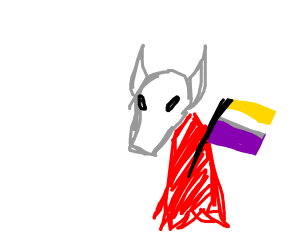 holownight holding the nonbinary flag
