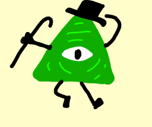 dancin illuminati symbol with tophat and cane