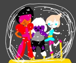 Gems in a snowglobe