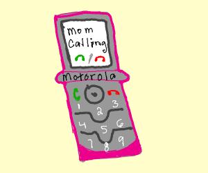 Old flip phone calling mom