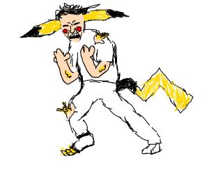 Man transforming into a Pokemon