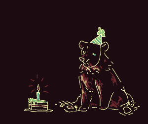 Bear celebrates birthday alone