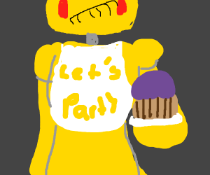 Toy chica(?) holding out the cupcake