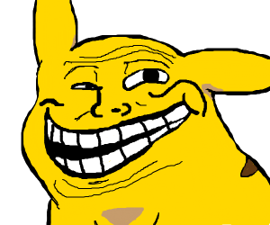Pikachu with Troll face meme expression