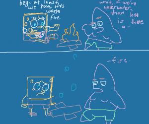 sponge bob and Patrick around a campfire