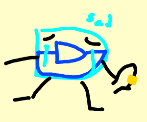 Drawception d but he has a belt? and its sad?