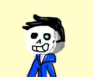 Grey guy with black hair but sans