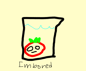 Bored Tomato stuck in a pitcher