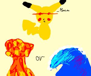pikachu decides between nuke or water
