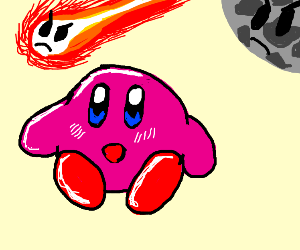 kirby is suprised by angry meteor and moon