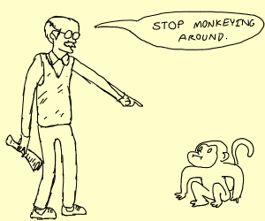 Old man hating on a monkey