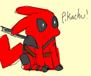 pikachu disguised as deadpool