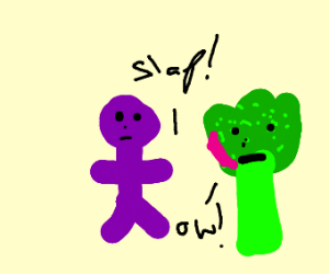 Purple man slaps large piece of brocolli