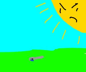sun threatening a spoon