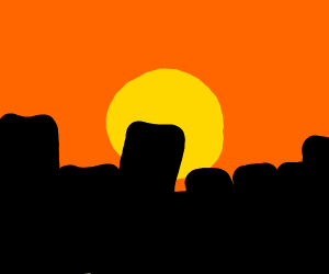 A very detailed city with sunset
