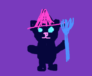 A kitty dressed up as a witch