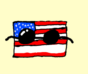 USA map with sunglasses