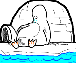 Depressed penguin patting stomach