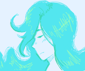Sad person with an ocean of hair
