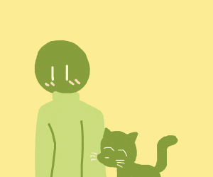 Green tabby cat loves a green man