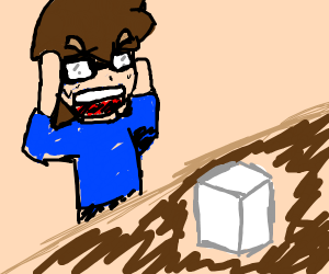 Man in blue freaking out over sugar cube