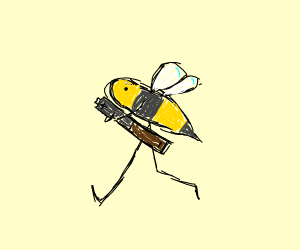 Bee running with a Battery